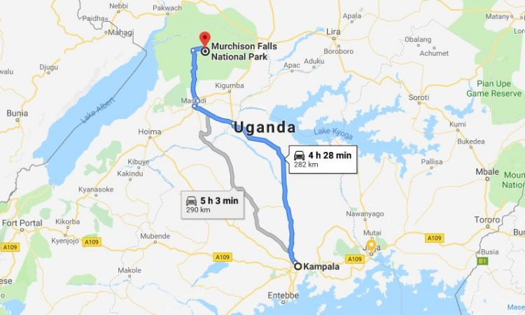 Distance from Kampala to Murchison Falls