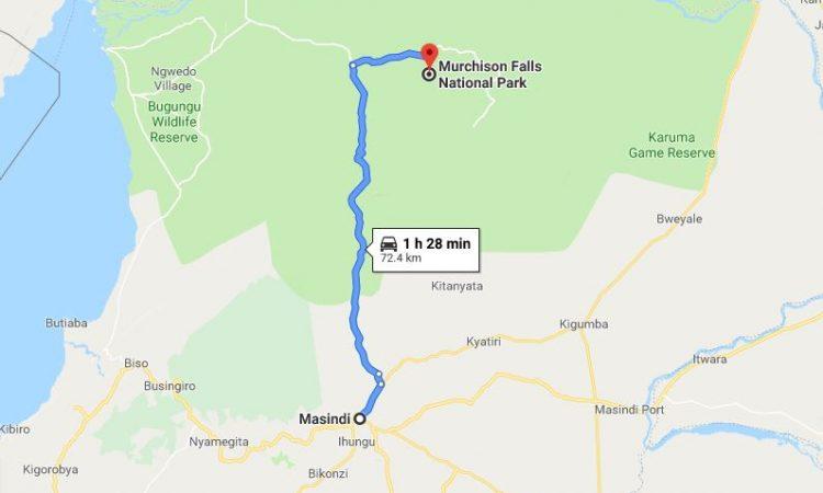Distance From Masindi To Murchison Falls National Park